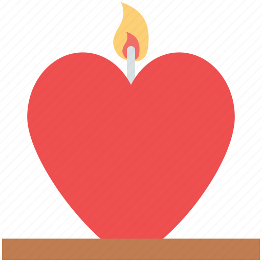 burning candle, candle, candlelight, heart candle, love sign icon
