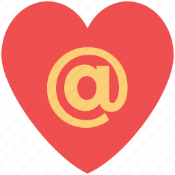 arroba in heart, internet dating, internet lover, love email, online romance icon