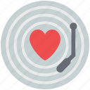 love music, playing record, record, record vinyl, romantic music, vinyl, vinyl with heart icon