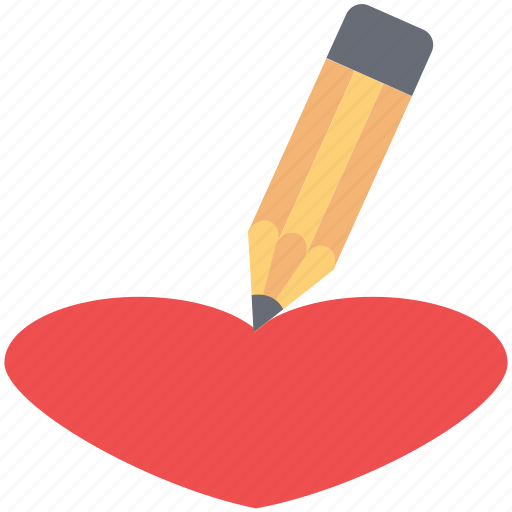 heart drawing, heart with pencil, like, love, romantic icon