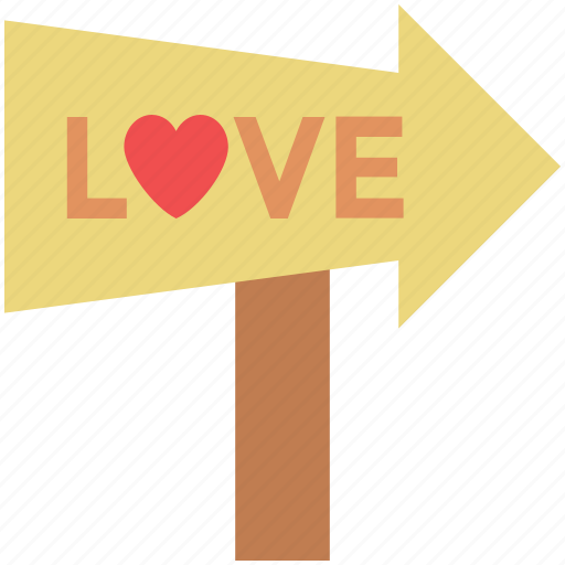 direction, directional arrow, love milepost, love signpost, romantic icon