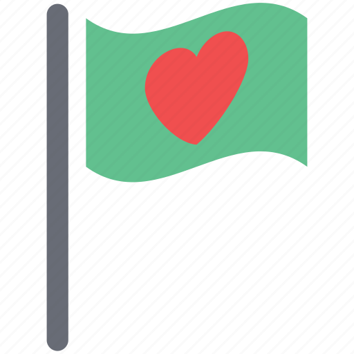 ensign with heart, flag with heart, heart on ensign, love concept, love sign icon