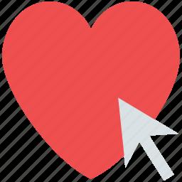 click heart, cursor on heart, heart, heart arrow, romance, valentine icon