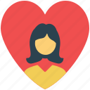 girl in heart, heart, love sign, romance, valentine icon