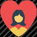 girl in heart, heart, love sign, romance, valentine icon