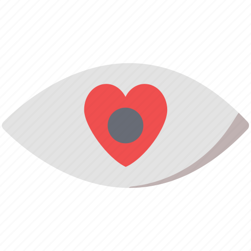 eye, eye heart, heart, love, romance, soul, visible icon