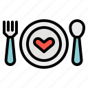 dinner, fork, heart, love, romance