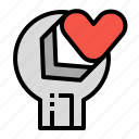 care, construction, fix, love, tools icon