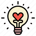 bulb, heart, idea, like, love icon