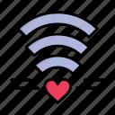 day, heart, love, valentine, valentines, wedding, wifi icon