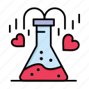 chemical, day, flask, heart, love, valentine, valentines
