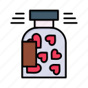 bottle, cookies, day, heart, jar, love, valentine, valentines icon