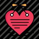 calendar, day, hanging, heart, letter, love, valentine, valentines icon