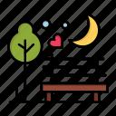 day, love, moon, night, park, romance, romantic, valentine, valentines