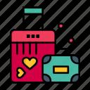 briefcase, day, heart, love, valentine, valentines, wedding