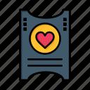 day, heart, love, ticket, valentine, valentines, wedding