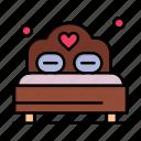 bed, day, heart, love, valentine, valentines, wedding icon