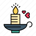 candle, day, heart, love, valentine, valentines, wedding icon