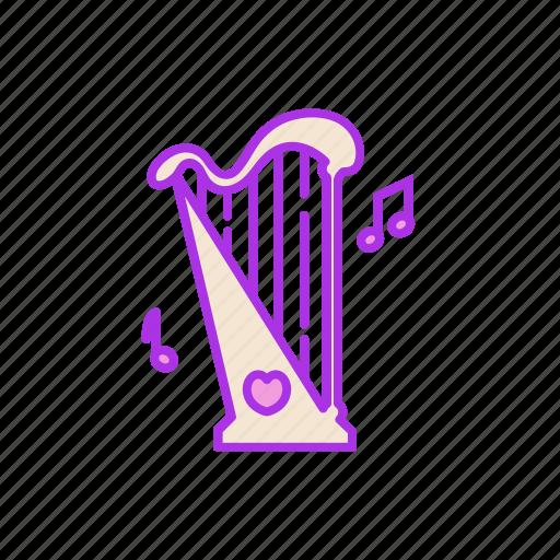 arfa, harp, instrument, music, note, song, valentine icon