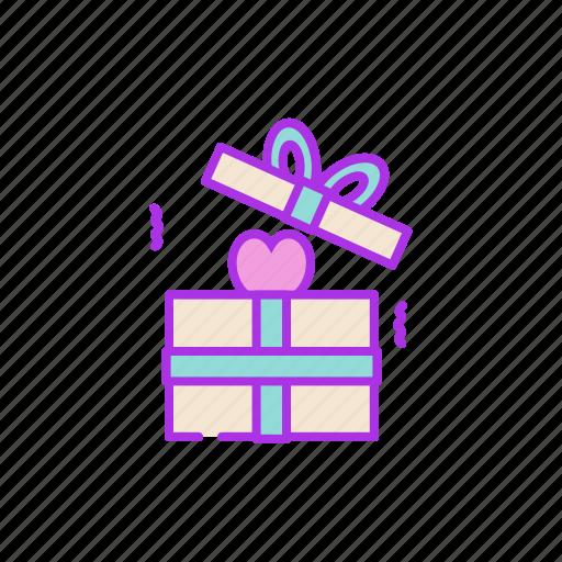 box, gift, heart, love, open, present, valentine icon