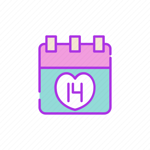calendar, event, february, holiday, notification, valentine icon