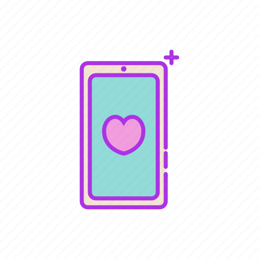 application, cell phone, heart, iphone, phone, smart phone icon