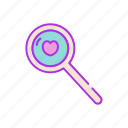 for, heart, love, search, valentine icon