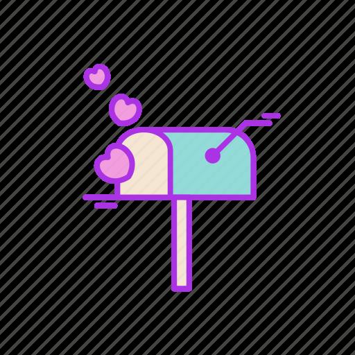 heart, love, mail, message, post, receive, valentine icon