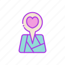 destination, heart, love, map, navigation, valentine icon