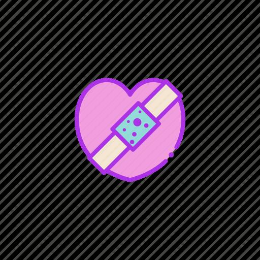 broken, heart, injury, love, valentine icon