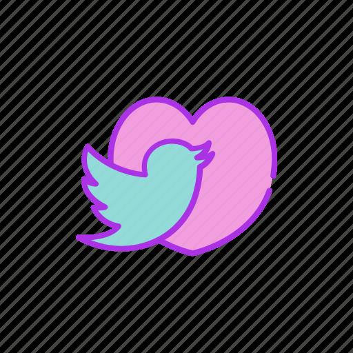 bird, heart, love, message, send, twitter, valentine icon