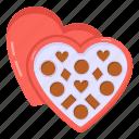 heart box, heart chocolates, valentine chocolates, love chocolates, chocolates box icon