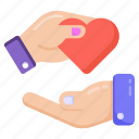 saving life, heart giving, heart donate, kindness, love icon
