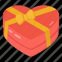 heart gift, valentine present, wrap heart, heart box, heart chocolate icon