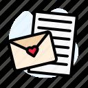 envelope, heart, paper, pink, red, valentine