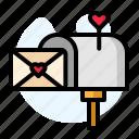 box, envelope, heart, pink, post, red, valentine