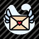 envelope, heart, pink, red, valentine, wing