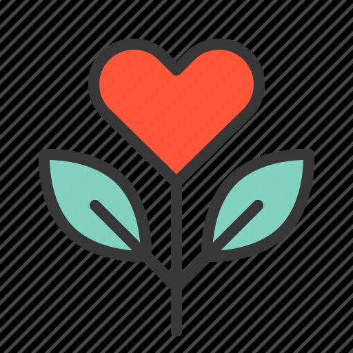 flower, heart flower, love, valentine icon