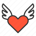 flying love, heart, love, love wing, valentine icon