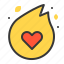 fire, heart, love, love of fire, valentine icon