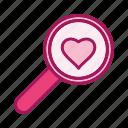 finding, heart, love, valentine icon