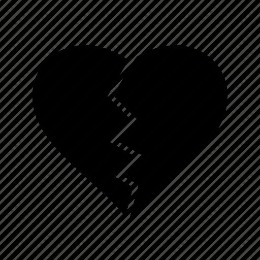 broken, heart, love, valentine icon