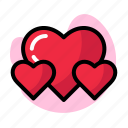 double, heart, letter, outline, pink, red, valentine