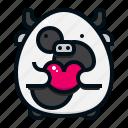 cow, valentine, love, heart, character, avatar, animal