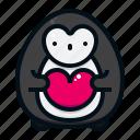 penguin, valentine, love, heart, character, avatar, animal