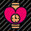 wrist, watch, valentine, love, heart, romantic, clock