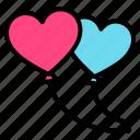 balloon, love, couple, heart, valentine