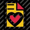 document, favorite paper, file, heart, love, paper, valentine's day icon