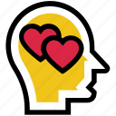 head, heart, love, mind, romance, thinking, valentine's day icon