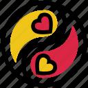 family, harmony, heart, valentine's day, yang, yin, yin and yang icon